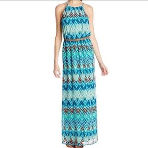 NWOT As U Wish Chevron Printed Chiffon Maxi Dress